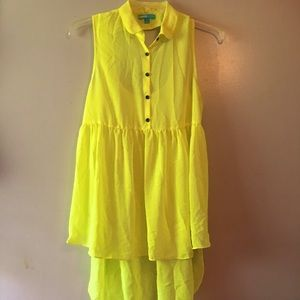 L'Amour Nanette Lepore Neon Yellow Open Back Top